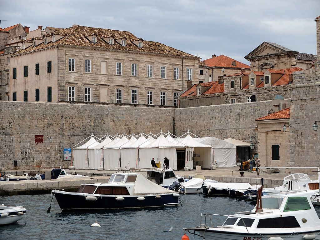 Production tent in Old City Port of Dubrovnik