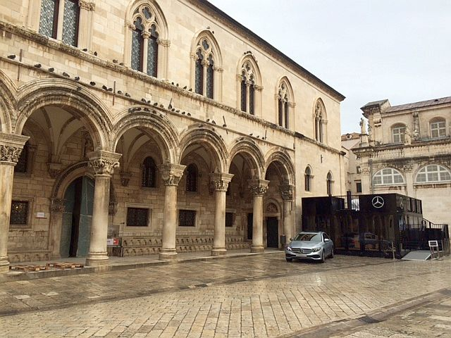 One of the Mercedes cars in front of the Rector's Palace in Dubrovnik