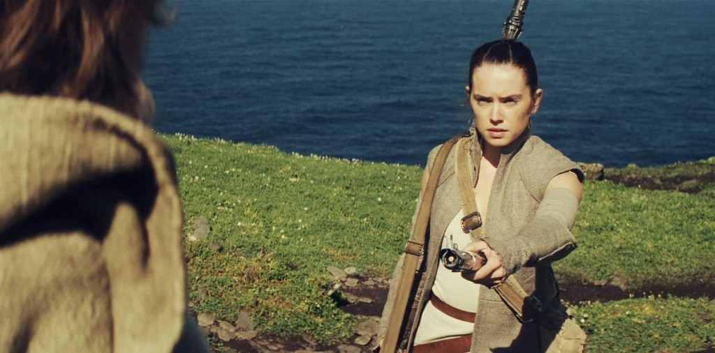 Rey and Luke Skywalker share a scene in The Force Awakens, photo Lucasfilm