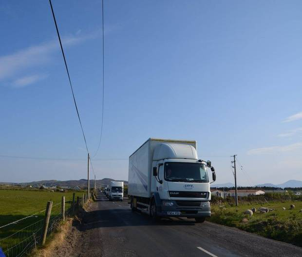 Set materials were hauled in by truck convoys, Photo James Whorriskey